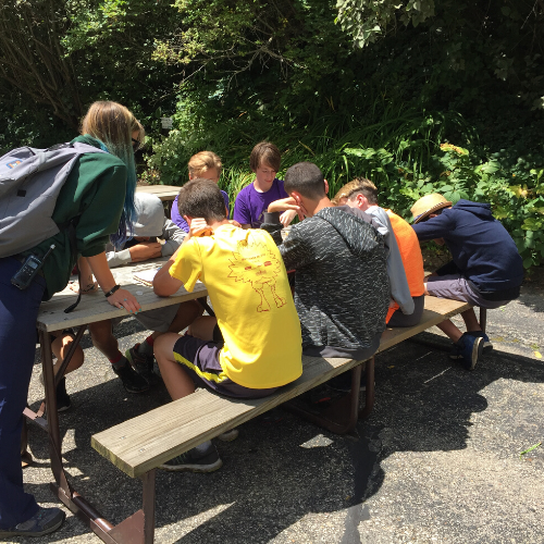 Photo of educator with kids at picnic table