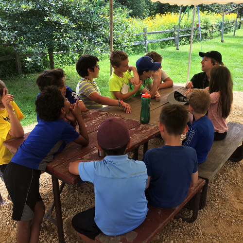 Photo of educator teaching at outside picnic tables