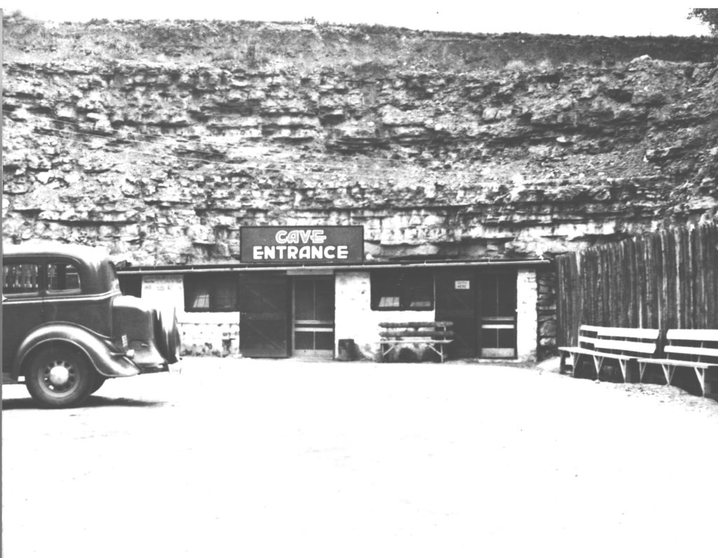 Vintage Photo of the Cave Entrance Building with Car in the 1940s