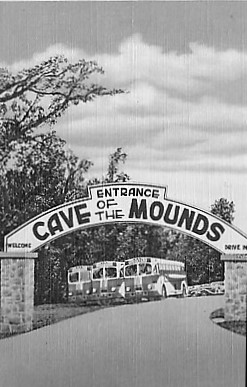 Vintage Photo of the Cave of the Mounds Parking Lot in the 1940s with school buses.