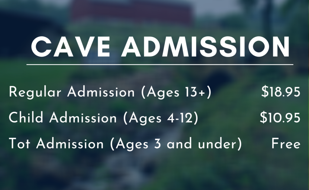 Cave Admission. Regular admission for ages 13 and over are $18.95 a ticket. Child Admission for ages 4 to 12 are $10.95 a ticket. Kids ages 3 and under are free admission.