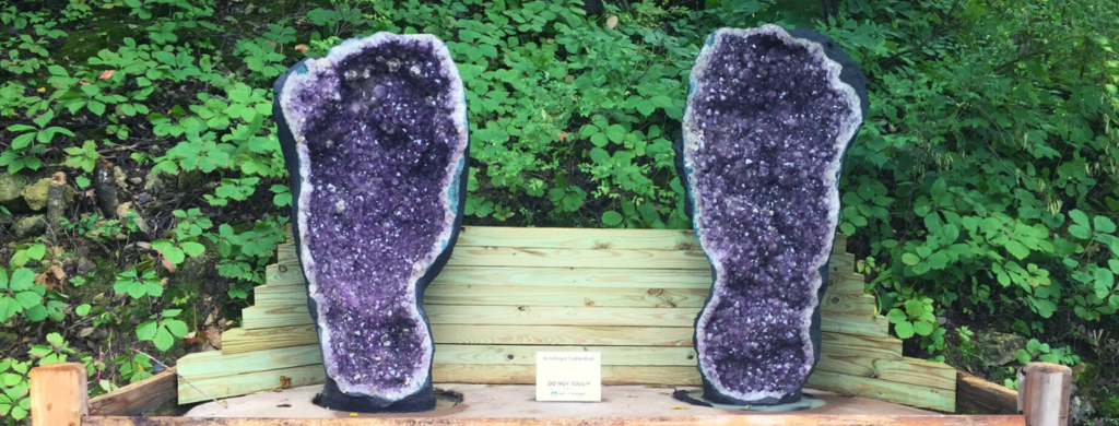 Photo of Amethyst Cathedrals on display at Cave of the Mounds