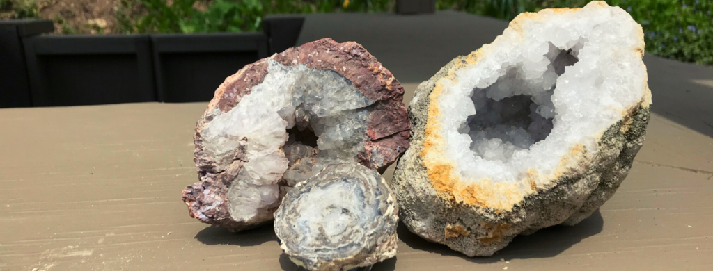 Photo of broken open geodes