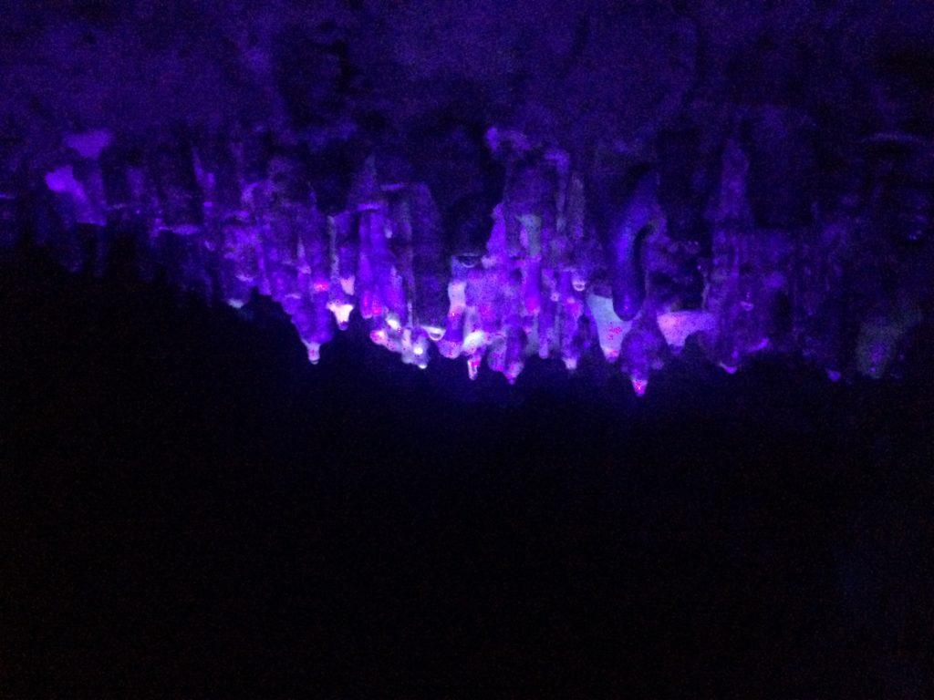 Photo of stalactites under a blacklight