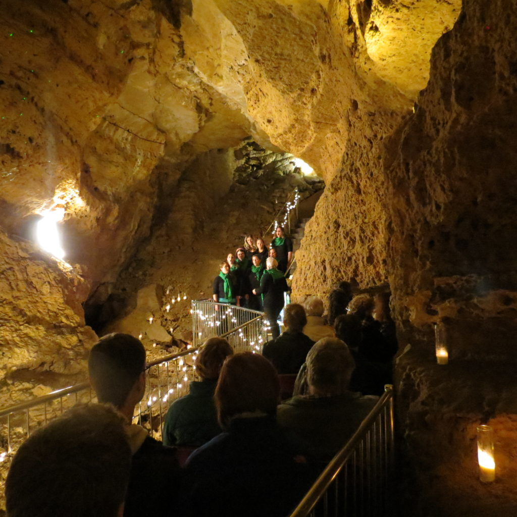 Photo of A Capella group singing at Cave of the Mounds for an event