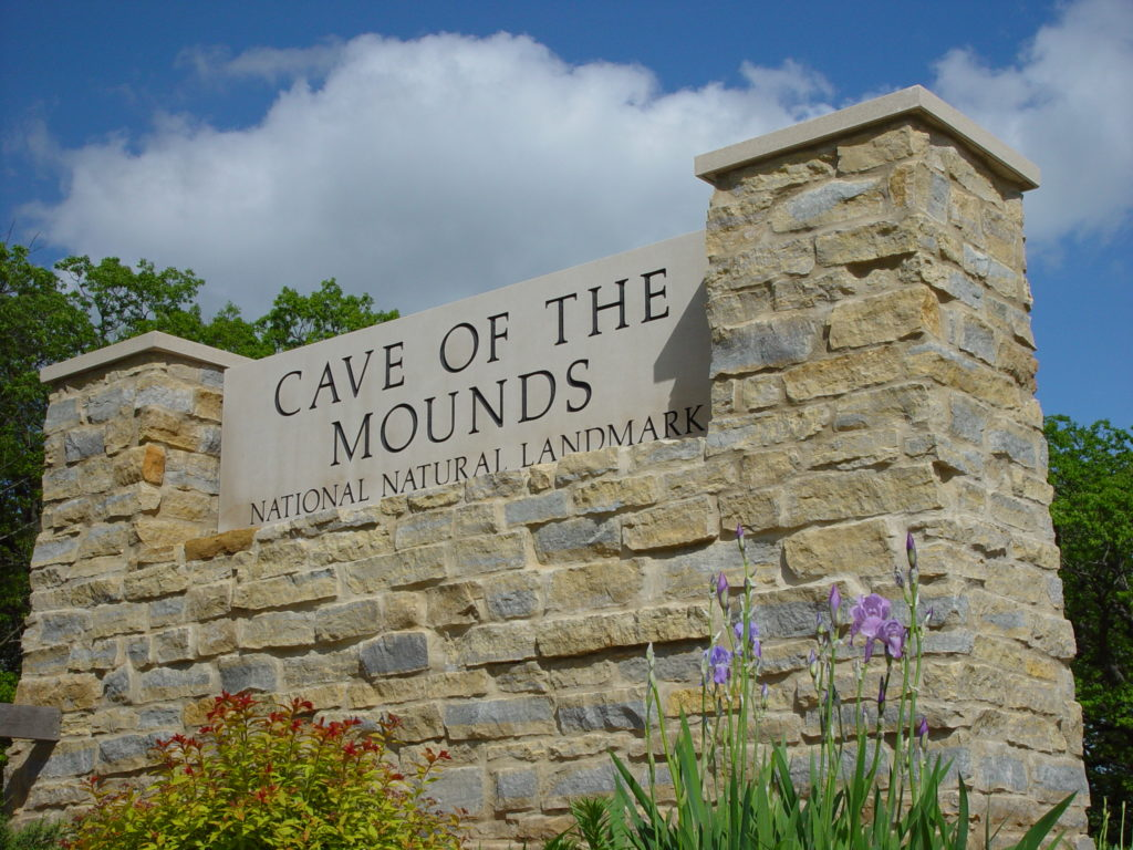 Photo of our Cave of the Mounds Entrance Sign Angled