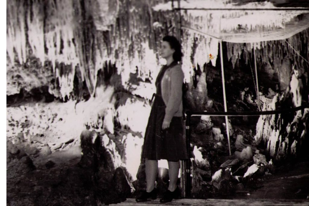 Vintage Photo of the a Guest in Cathedral Room inside the cave